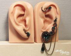 EMERALD EAR WRAP set bronze ear pin crystal ear by bodaszilvia