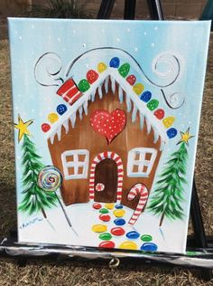 christmas paintings How To Paint A Gingerbread House - Step By Step Painting Painting For Kids, Diy Painting, Art For Kids, House Painting, Canvas Painting Tutorials, Diy Canvas, Acrylic Painting Canvas, Kids Canvas Art, Canvas Crafts