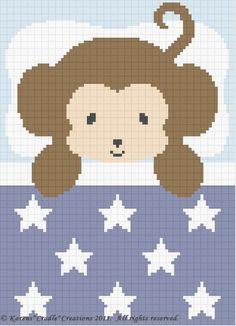 Crochet Patterns-SWEET DREAMS BABY BOY MONKEY Pattern