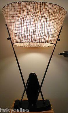 Vtg 50s Majestic Lamp Fiberglass Shade Mid Century Modern Retro Eames Era Atomic | eBay
