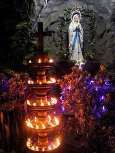 Our Lady of Lourdes statue in the actual place in Fatima where the 3 children experienced apparitions of the Blessed Mother. Many cures take place here in the miraculous water.