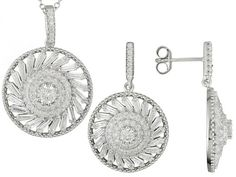 Bella Luce (R)6.33ctw Rhodium Over Sterling Silver Earrings And Pendan