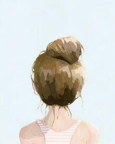 hair art - bun print - Top Knot 21