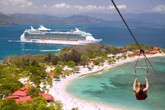 Thrill seekers: Cruise line Royal Caribbean's private resort, Labadee, has the largest zip line over water.