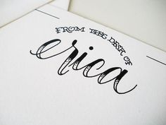 From the Desk of Name in Tattoo Script by fayeandco on Etsy, $15.00