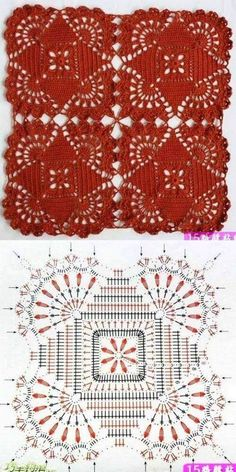 Crochet Patterns Shawl Knitting and embroidery, needlework - Magic fingers .Knitting and embroidery, needlework - Magic Wand - Articles: Serviette fabricated from sq.One of the most beautiful crochet works I have ever seen. Crochet Motif Patterns, Crochet Blocks, Granny Square Crochet Pattern, Crochet Chart, Crochet Squares, Thread Crochet, Crochet Tablecloth, Crochet Doilies, Tablecloth Ideas