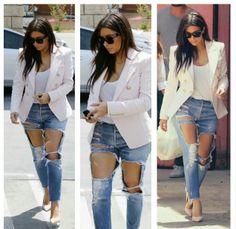Kimmy at starbucks in calabasas wearing #Balmain blazer #Levi jeans #Céline shades  and #GiuseppeZanotti hells.