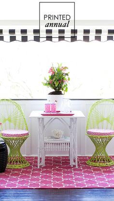 hot pink + lime green, pattern mix, fab chairs