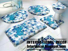 Aqua Bathroom Rug Sets 5 Pieces, Modern Baths Rug Sets, Models, Colors