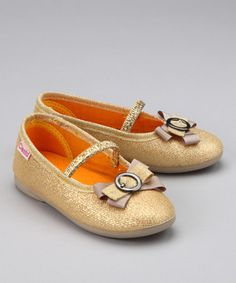 Take a look at this Gold Bow Ballet Flat by Blow-Out on #zulily #fall today!