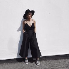 "LIKEtoKNOW.it on Instagram: ""We're vibing on @chloehelenmiles blackout edgy-chic look in all-black-everything silk culottes paired with chucks 