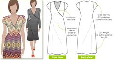 Cross-over neck dress sewing pattern from Stylearc