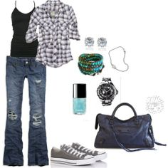 Grey cons, jeans, casual styles