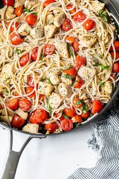 This 20-minute pasta recipe with chicken and grape tomatoes is bursting with flavor and is easy to make. A great way to use those summer tomatoes! #spaghetti #pasta #chicken Grape Tomato Recipes, Tomato Pasta Recipe, Chicken Pasta Recipes, Recipes With Grape Tomatoes, Pasta With Chicken, Cooking Recipes, Healthy Recipes, Ww Recipes, Skinnytaste Recipes