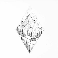 Make a revolution in life in the style of Hyugge – Fair Masters – handmade, handmade – Tattoo Sketches & Tattoo Drawings Landscape Tattoo, Landscape Drawings, Landscape Art, Mountain Landscape Drawing, Simple Landscape Drawing, Tattoo Sketches, Tattoo Drawings, Art Drawings, Simple Drawings
