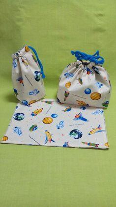 ハンドメイドマーケット minne(ミンネ)  黄色宇宙飛行と紫色動植物の弁当袋、コップ袋、ランチョンマット  入園入学グッズ