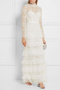 55d8676f00f5 Self-Portrait Primrose Crepon-Trimmed Guipure Lace Gown Extravagant Wedding  Dresses, Amazing Wedding