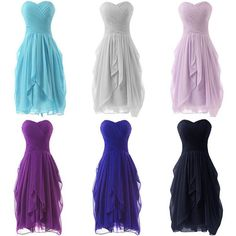 6b722439c3e Sweetheart Short Chiffon Bridesmaid Party Dresses Formal Prom Ball Cocktail  Gown in Clothing