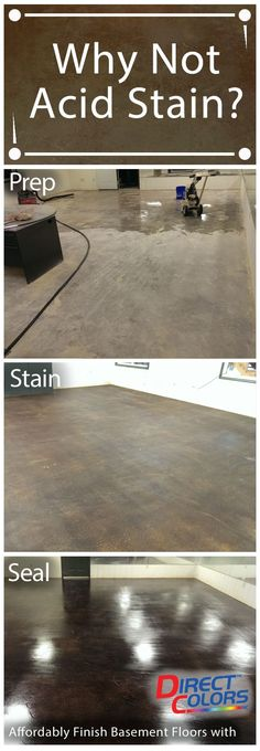 Acid Staining Basement Floors is both an affordable and unique option for homeowners. Do it yourself or hire a contractor. You'll be glad you did for the easy maintenance, cleaning and just spectacular look! Direct Colors has the how-to info, technical su Concrete Basement Floors, Basement Flooring Options, Basement Walls, Basement Bedrooms, Diy Flooring, Basement Ideas, Stain Concrete, Basement Designs, Flooring Tiles
