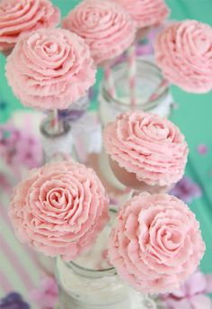 Ruffle style rose cake pops - elegant, pretty for bridal shower or girls birthday party Cake Truffles, Cake Cookies, Cupcake Cakes, Flower Cake Pops, Cake Push Pops, Mothers Day Desserts, Cheesecake Pops, Carousel Cake, Sweet 16 Cakes