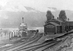 Railroad Depot and Boat Landing, Nakusp. Yukon Territory, Road Construction, Train Stations, Tug Boats, Model Train Layouts, Local History, Train Tracks, Vintage Pictures, Model Trains