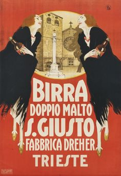 Artist Unknown vintage poster: Birra Doppio Malto S. Vintage Italian Posters, Vintage Advertising Posters, Poster Vintage, Vintage Travel Posters, Vintage Advertisements, Art Deco Artists, Artist Art, Vintage Labels, Vintage Ads
