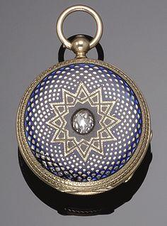 GOLD, ENAMEL AND DIAMOND POCKET WATCH, XIX CENTURY