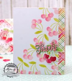 Cherry Thanks Card by Betsy Veldman for Papertrey Ink (June 2015)