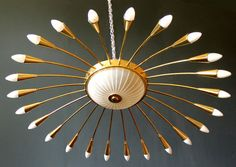 1 (of 2) Colossal 1950s German Ballroom Sputnik Plafoniere Flush Lamp Chandelier
