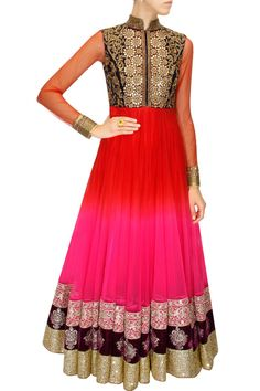 GREAT LENGTHS : Red to pink shaded jalabiya dress with navy blue embroidered yoke by Vikram Phadnis. Shop at www.perniaspopups... #designer #indian #vikramphadnis #couture #fashion #shopnow #perniaspopupshop #happyshopping