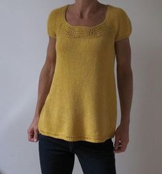 Free knitting pattern for tee short sleeved top DK yarn Buttercup by Heidi Kirrmaier A top down, seamless raglan, A-line top, featuring just a touch of lace and very slightly puffed sleeves. to fit bust 30 - 50 inches tba Knitting Patterns Free, Knit Patterns, Free Knitting, Free Pattern, Knit Or Crochet, Pulls, Knitwear, Puffed Sleeves, Couture