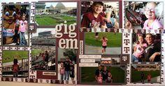 Texas Aggie Football game scrapbook page layout