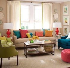 The living room color schemes to give the impression of more colorful living. Find pretty living room color scheme ideas that speak your personality. Good Living Room Colors, Colourful Living Room, Living Room Color Schemes, Living Room On A Budget, Living Room Paint, Living Room Furniture, Living Room Designs, Living Room Colour Design, Design Color