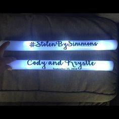 50 Flashing Custom LED Foam Sticks - you pick the color and the text! Perfect for wedding receptions, parties, giveaways, and more! Glow Stick Wedding, Turn Time, Wedding Send Off, Glow Sticks, Wedding Receptions, Text You, One Color, Texts, Red And White