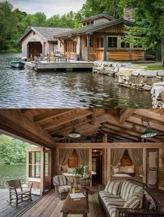 River cabin boat house. I want to live here!