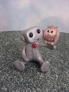 Robot and his Pet Owl by sleepyrobot13 on Etsy, $12.00 (Here's one for you Edward)