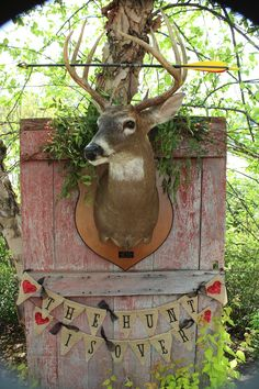 "Such a cute wedding shower/engagement party idea. ""The hunt is over."""