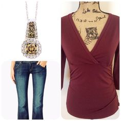 V-Neck Long Sleeve Top❤️ Cute and fresh Burgundy V-Neck top. Stylish. New with tags. Ann Taylor Tops