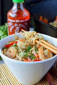 Spicy shrimp ramen bowl with sriracha bottle These Spicy Shrimp Ramen Bowls have tender shrimp, crisp veggies and spicy Sriracha! Fish Recipes, Seafood Recipes, Asian Recipes, Soup Recipes, Cooking Recipes, Healthy Recipes, Recipes With Shrimp, Top Ramen Recipes, Ramen Noodle Recipes