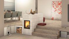Moderner Kachelofen mit Sichtfenster und Keramik mit Tapetenoptik Fireplaces, Architecture, Home Decor, Fire Pits, Fireplace Living Rooms, Tiling, Modern Interiors, Panel Room Divider, Fireplace Set
