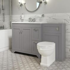 Toilet and Basin Combination Unit - Traditional Toilet - Grey - Baxenden - Better Bathrooms Toilet Vanity Unit, Toilet And Sink Unit, Grey Vanity Unit, Bathroom Sink Units, Sink Vanity Unit, Master Bathroom, Grey Bathroom Vanity, Family Bathroom, Traditional Vanity Units