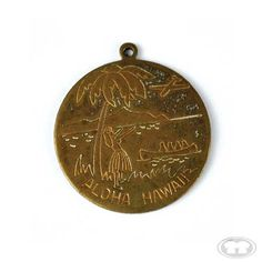 "Aloha Hawaii Etched Metal Medallion 	Medallions were extremely popular within the surf culture in the 1960's, often as good luck charms or simply as symbols of the sport they loved. Many featured Saint Christopher, who is the patron saint of travel and is believed to have searched the world for adventure (like surfers). Beach boys used to give their girlfriends medallions or surf charms as a sign of ""going steady."""