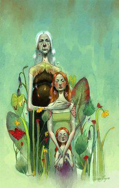 2 and 3 generations of women (illustration of Ericka Lugo ) Wicca, Magick, Witchcraft, Maiden Mother Crone, Ange Demon, Triple Goddess, Sacred Feminine, Illustration Art, Images