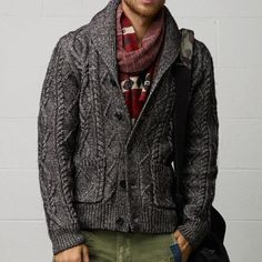 Cable-knit Cardigan by Ralph Lauren; it wasn't too long ago cardigans were mocked--now, they can be rocked.  =)