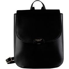 Radley Spitalfields Medium Leather Backpack, Black (9,580 PHP) ❤ liked on Polyvore featuring bags, backpacks, black, leather rucksack, rucksack bag, day pack backpack, radley bags and real leather backpack