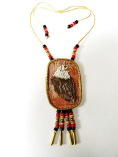 Porcupine Quilled Bald Eagle Necklace by hfmade on(Monica Alexander, Métis) on Etsy