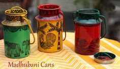 milk can art Diy Bottle, Bottle Art, Bottle Crafts, Madhubani Art, Madhubani Painting, Diy Arts And Crafts, Hobbies And Crafts, Diy Diwali Decorations, Clay Art Projects