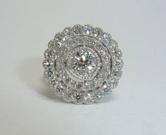 Stunning Edwardian 1.81ct Diamond Target Ring in Platinum from Beacon Hill Jewelers Exclusively on Ruby Lane