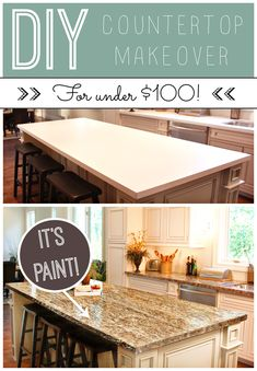 Kitchen update on a budget! Countertop paint that looks like granite. DIY for you … – diy kitchen decor on a budget Home Improvement Projects, Home Projects, Kitchen Redo, Kitchen Design, Kitchen Ideas, Kitchen Makeovers, Kitchen Colors, Home Renovation, Home Remodeling