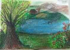 pastel boya doğa resmi